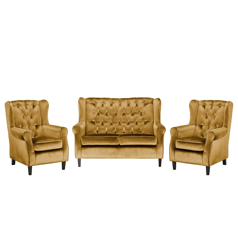 goedkoop Bankstellen Lorcy 2zitsbank fauteuil fauteuil fluweel Honingkleurig Maison Belfort