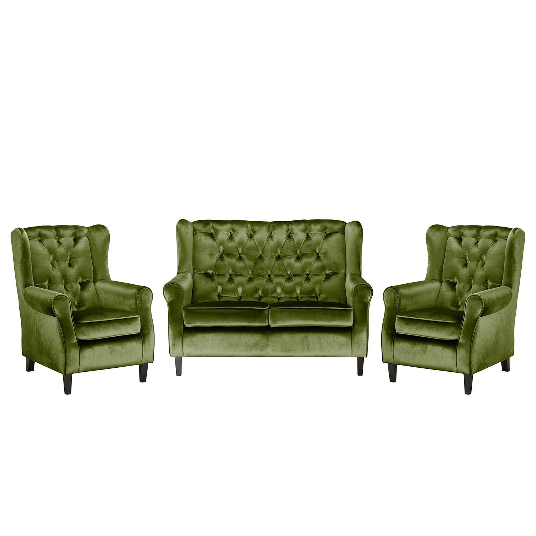 goedkoop Bankstellen Lorcy 2zitsbank fauteuil fauteuil fluweel Olijfgroen Maison Belfort