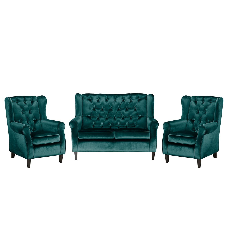 goedkoop Bankstellen Lorcy 2zitsbank fauteuil fauteuil fluweel Petrolblauw Maison Belfort