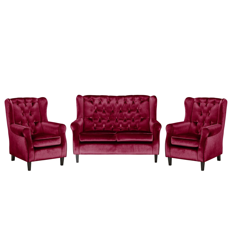 goedkoop Bankstellen Lorcy 2zitsbank fauteuil fauteuil fluweel Rood Maison Belfort