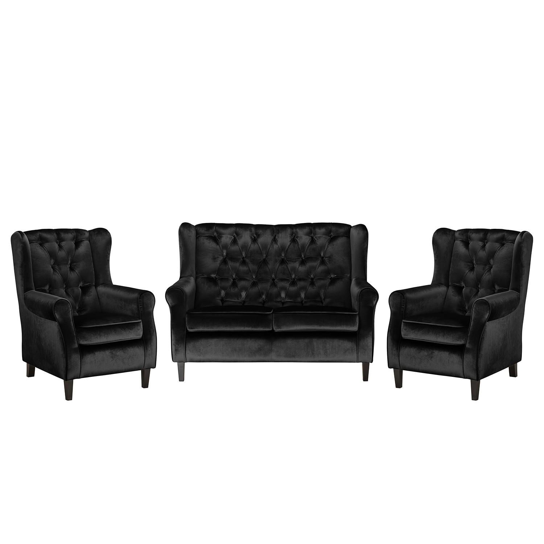 goedkoop Bankstellen Lorcy 2zitsbank fauteuil fauteuil fluweel Zwart Maison Belfort