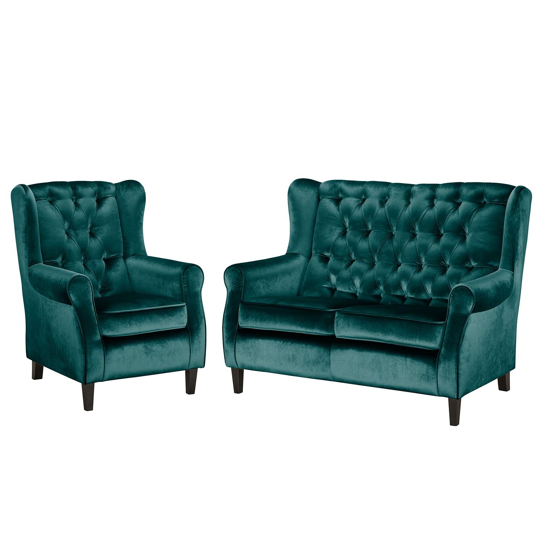 goedkoop Bankstellen Lorcy 2zitsbank fauteuil fluweel Petrolblauw Maison Belfort