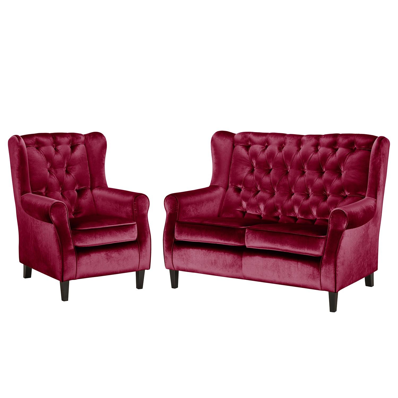 goedkoop Bankstellen Lorcy 2zitsbank fauteuil fluweel Rood Maison Belfort