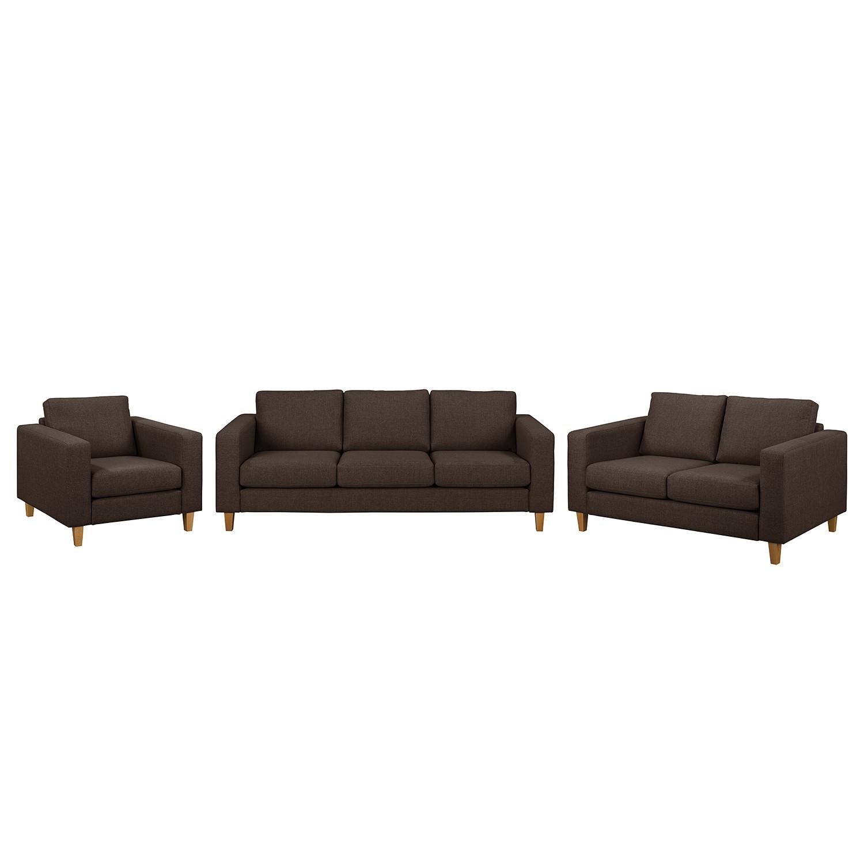 goedkoop Bankstellen Maison 3zitsbank 2zitsbank fauteuil geweven stof Bruin Morteens