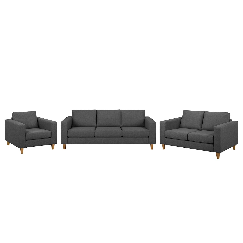 goedkoop Bankstellen Maison 3zitsbank 2zitsbank fauteuil geweven stof Donkergrijs Morteens