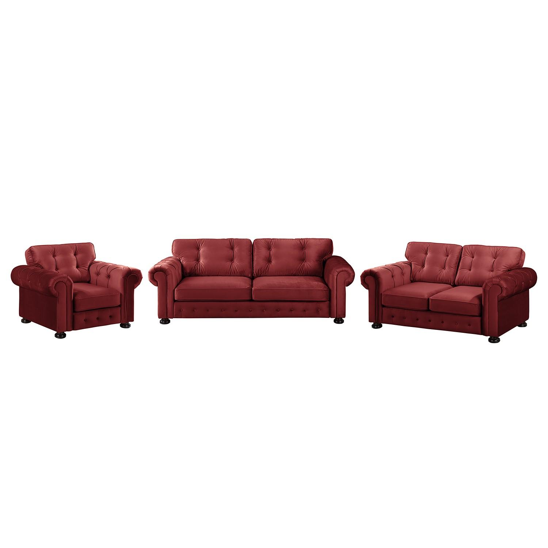 goedkoop Bankstellen Marau 3zitsbank 2zitsbank fauteuil fluweel Rood reconcept