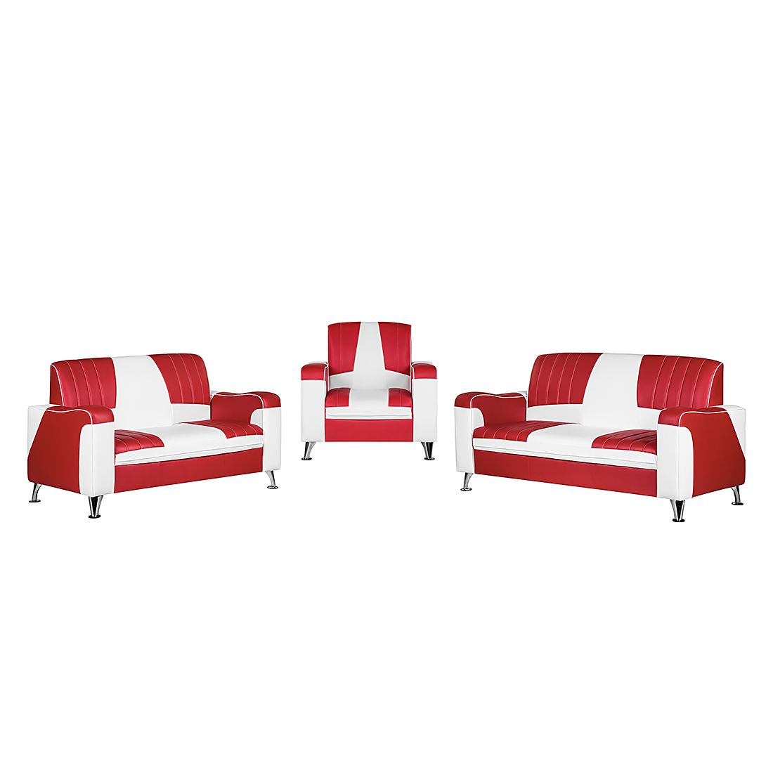 goedkoop Gestoffeerde meubelset Nixa 3zitsbank 2zitsbank en fauteuil rood wit kunstleer Studio Monroe