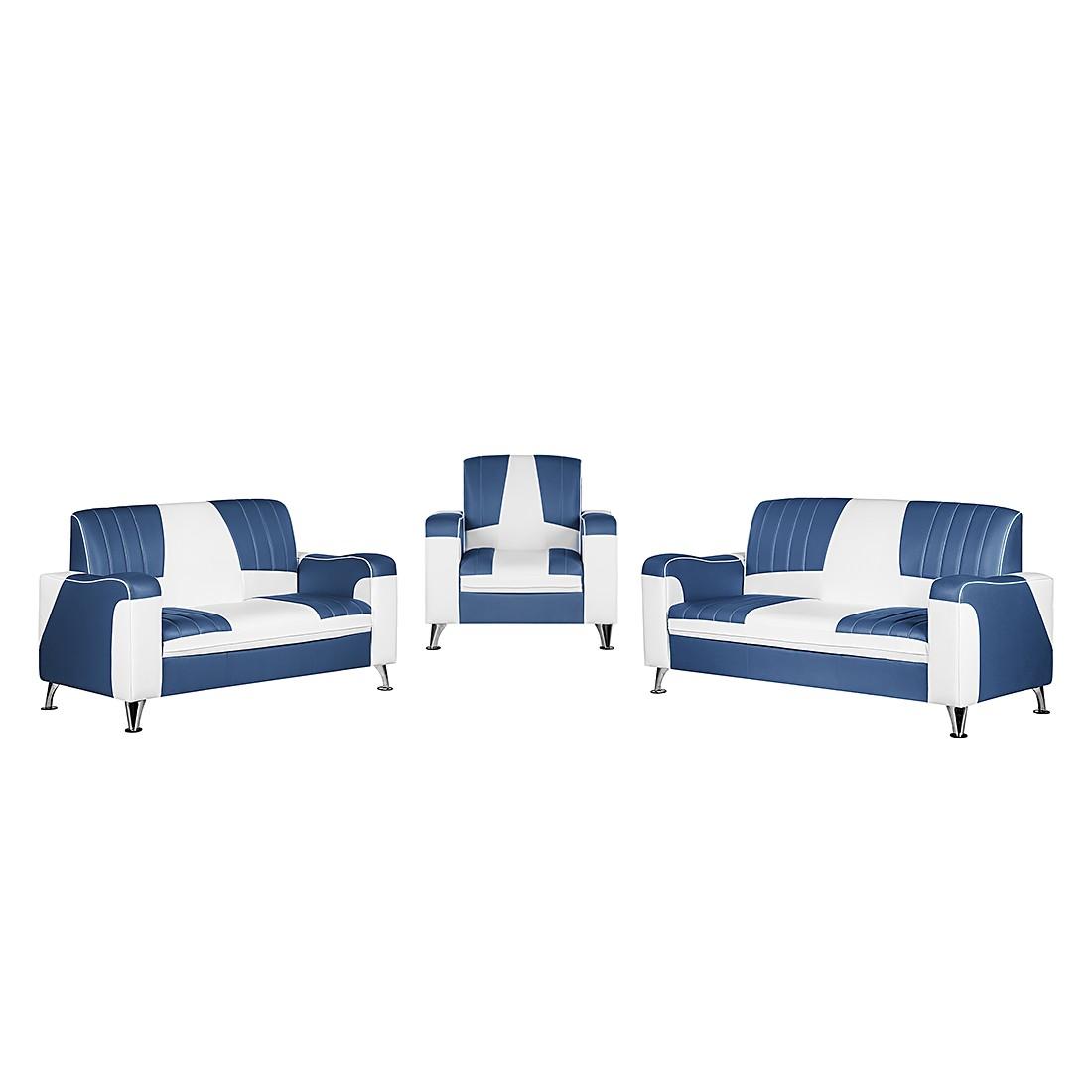goedkoop Gestoffeerde meubelset Nixa 3zitsbank 2zitsbank en fauteuil wit kunstleer donkerblauw Studio Monroe