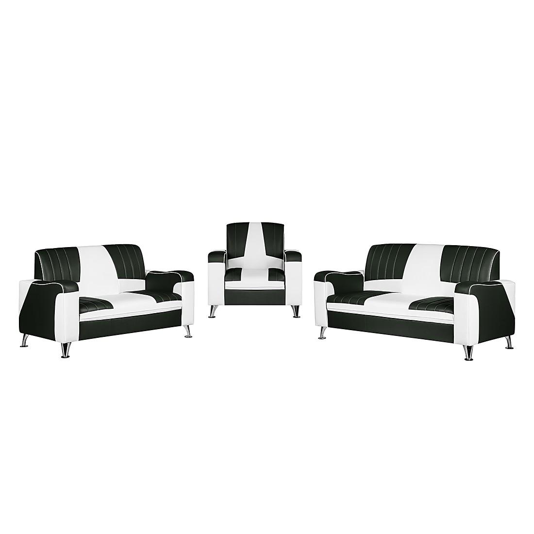 goedkoop Gestoffeerde meubelset Nixa 3zitsbank 2zitsbank en fauteuil wit kunstleer zwart Studio Monroe