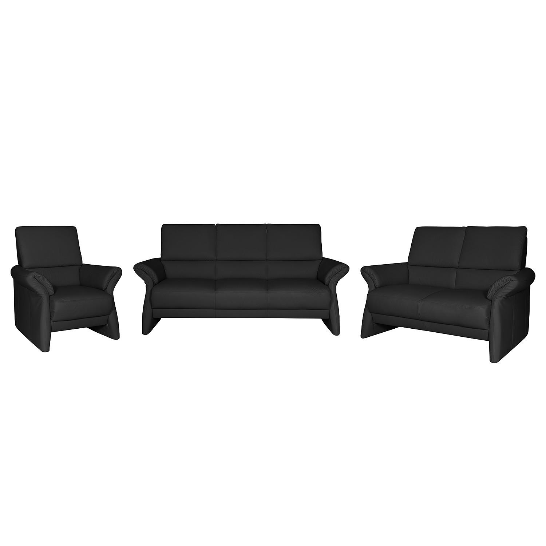 goedkoop Bankstellen Patay 3zitsbank 2zitsbank en fauteuil echt leer Zwart Nuovoform