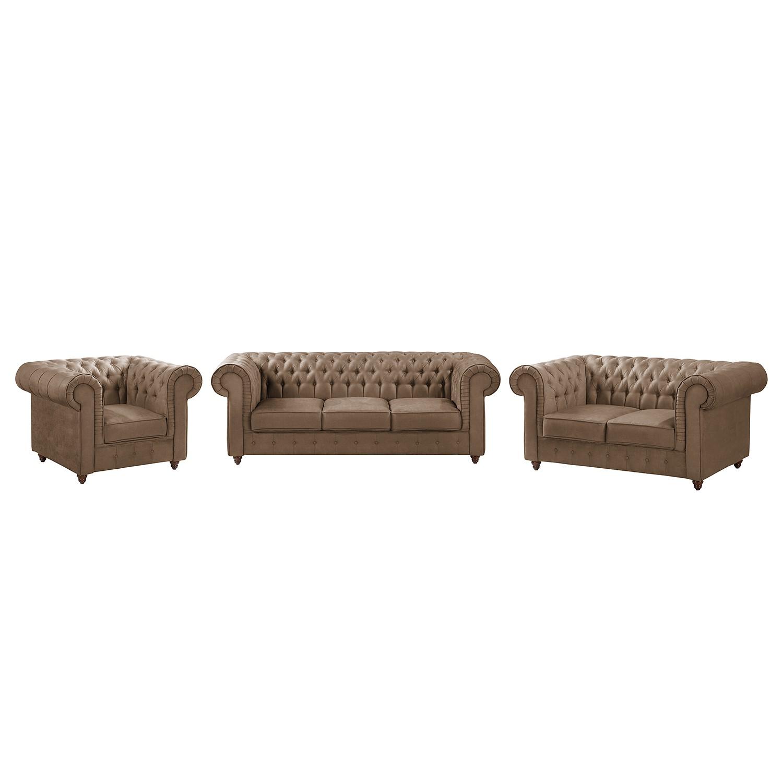goedkoop Bankstellen Pintano 3zitsbank 2zitsbank fauteuil antieke leerlook Congo grijs Maison Belfort