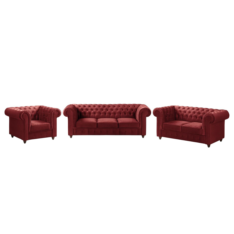 goedkoop Bankstellen Pintano 3zitsbank 2zitsbank fauteuil fluweel Rood Maison Belfort