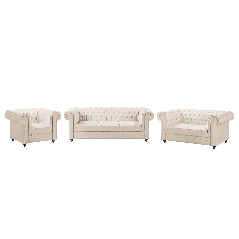 goedkoop Bankstellen Pintano 3zitsbank 2zitsbank fauteuil geweven stof Beige Maison Belfort