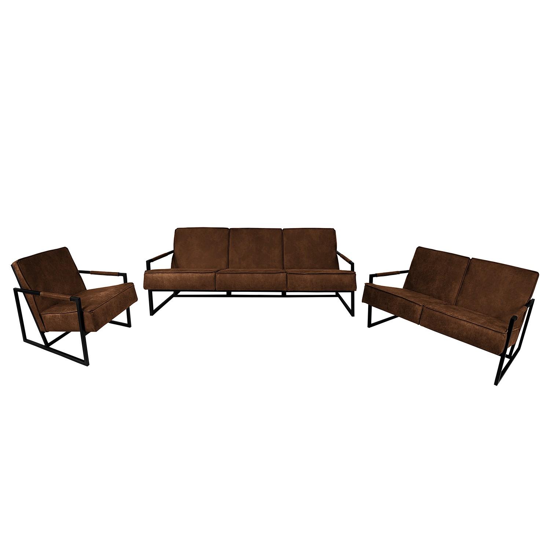 goedkoop Bankstellen Rhode 3zitsbank 2zitsbank fauteuil antieke leerlook Middel bruin ars manufacti