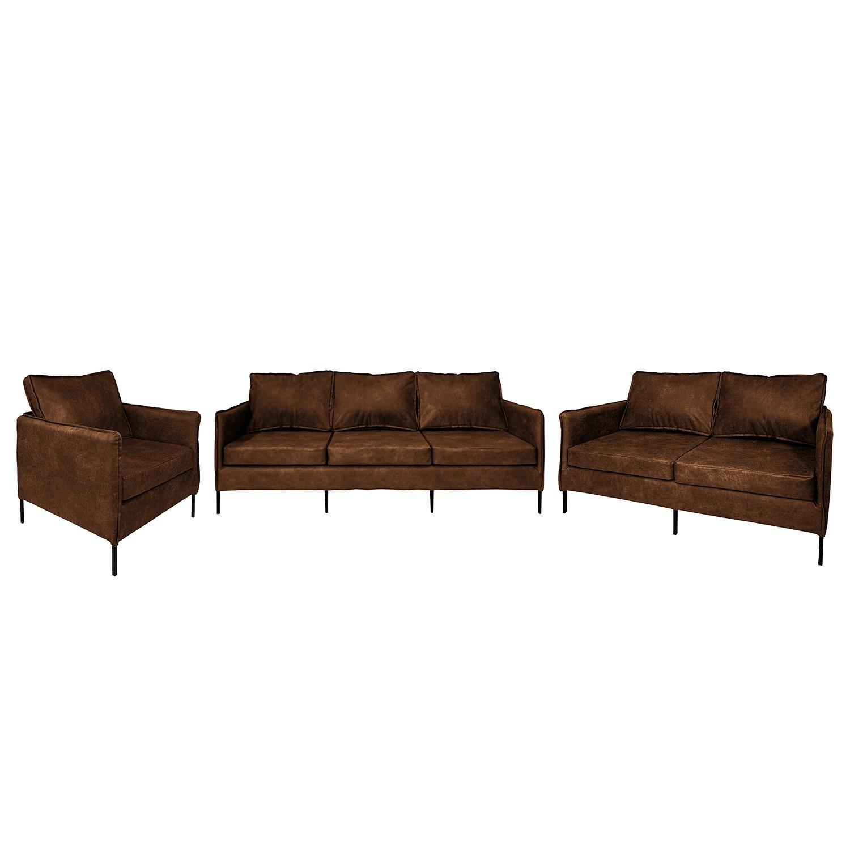goedkoop Bankstellen Southwell 3zitsbank 2zitsbank fauteuil antieke leerlook Middel bruin ars manufacti