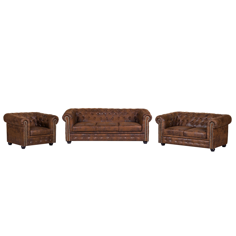 goedkoop Bankstellen Torquay 3zitsbank 2zitsbank fauteuil antieke leerlook Koffiebruin ars manufacti