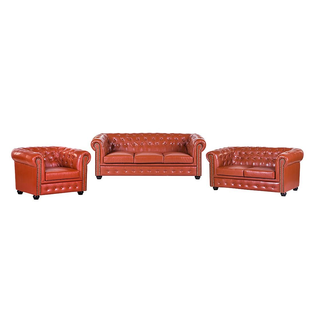 goedkoop Gestoffeerde meubelset Torquay 3zitsbank 2zitsbank en fauteuil bruin kunstleer Jack and Alice