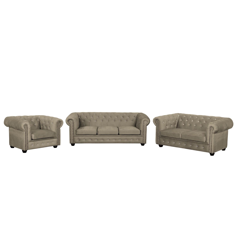goedkoop Bankstellen Torquay I 3zitsbank 2zitsbank fauteuil microvezel Cappuccinokleurig Jack and Alice