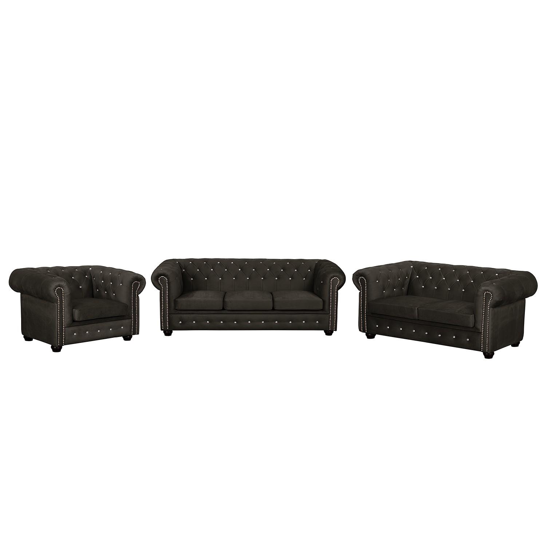 goedkoop Bankstellen Torquay I 3zitsbank 2zitsbank fauteuil microvezel Kokosnoot bruin Jack and Alice