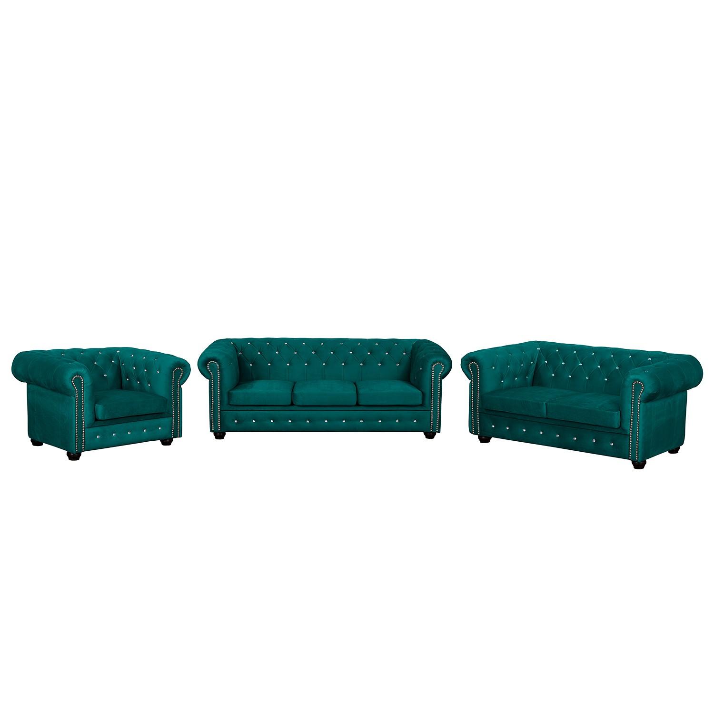 goedkoop Bankstellen Torquay I 3zitsbank 2zitsbank fauteuil microvezel Petrolblauw Jack and Alice