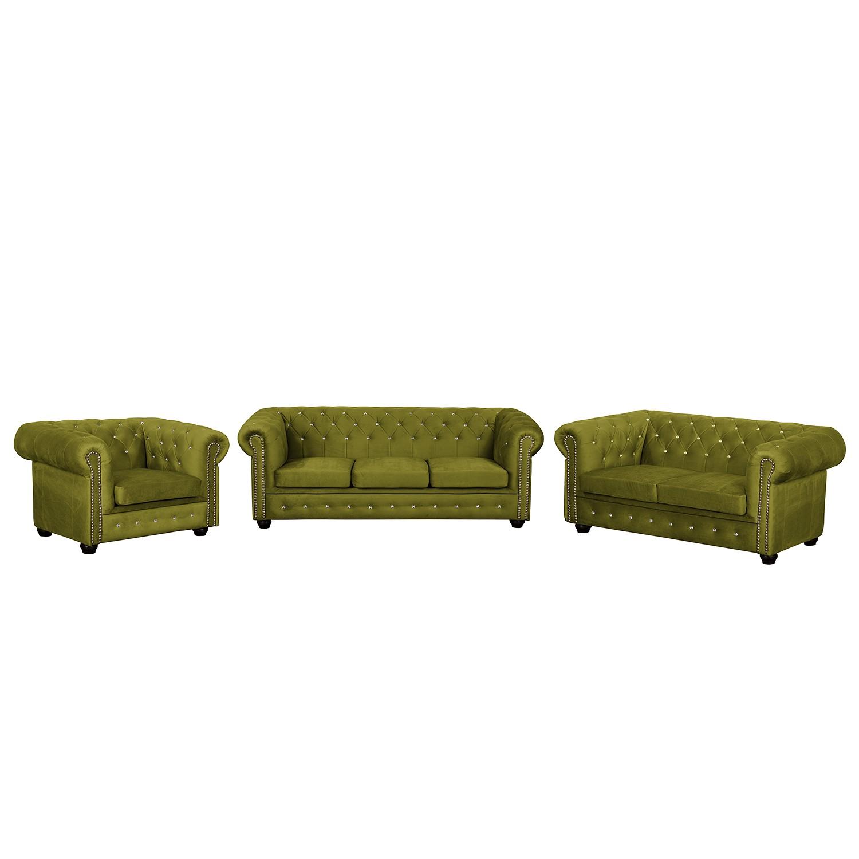 goedkoop Bankstellen Torquay I 3zitsbank 2zitsbank fauteuil microvezel Pistache groen Jack and Alice