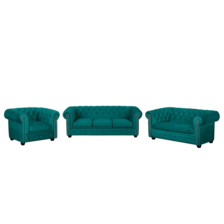 goedkoop Bankstellen Torquay II 3zitsbank 2zitsbank fauteuil microvezel Petrolblauw Jack and Alice