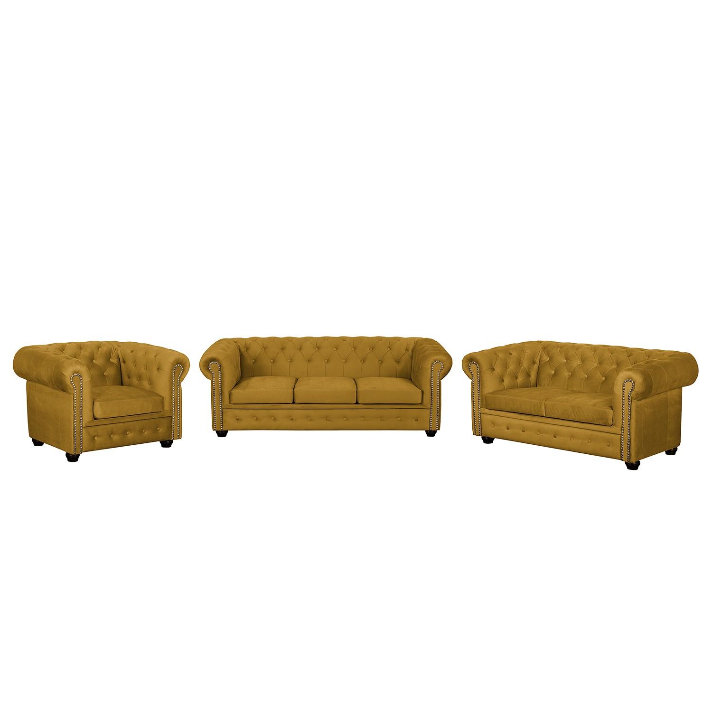 goedkoop Bankstellen Torquay II 3zitsbank 2zitsbank fauteuil microvezel Mosterdgeel Jack and Alice