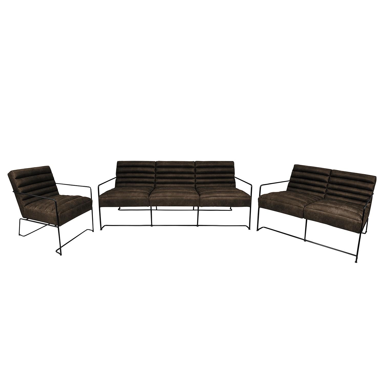 goedkoop Bankstellen Voda I 3zitsbank 2zitsbank fauteuil antieke leerlook Bruingrijs ars manufacti