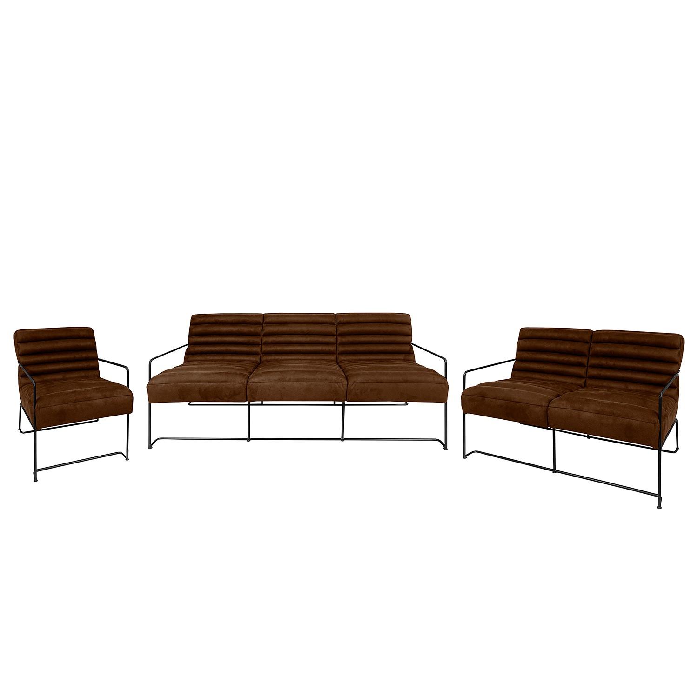 goedkoop Bankstellen Voda II 3zitsbank 2zitsbank fauteuil antieke leerlook Chocoladebruin ars manufacti