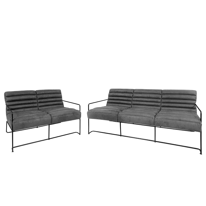 home24 Polstergarnitur Voda II (3-2) | Wohnzimmer > Sofas & Couches > Garnituren | Grau | Textil | ars manufacti