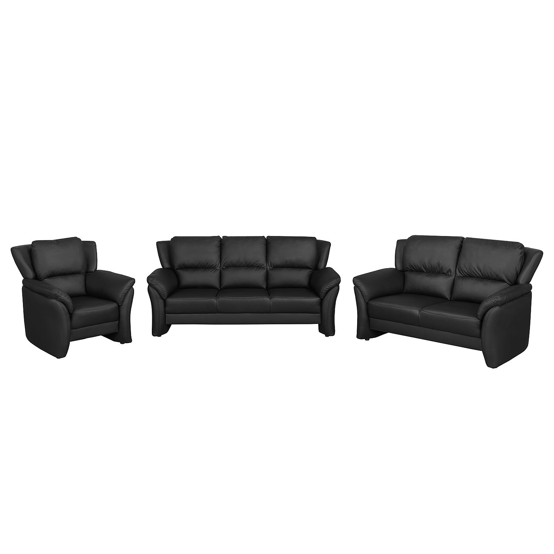 goedkoop Bankstellen Windom 3zitsbank 2zitsbank en fauteuil kunstleer zwart Nuovoform