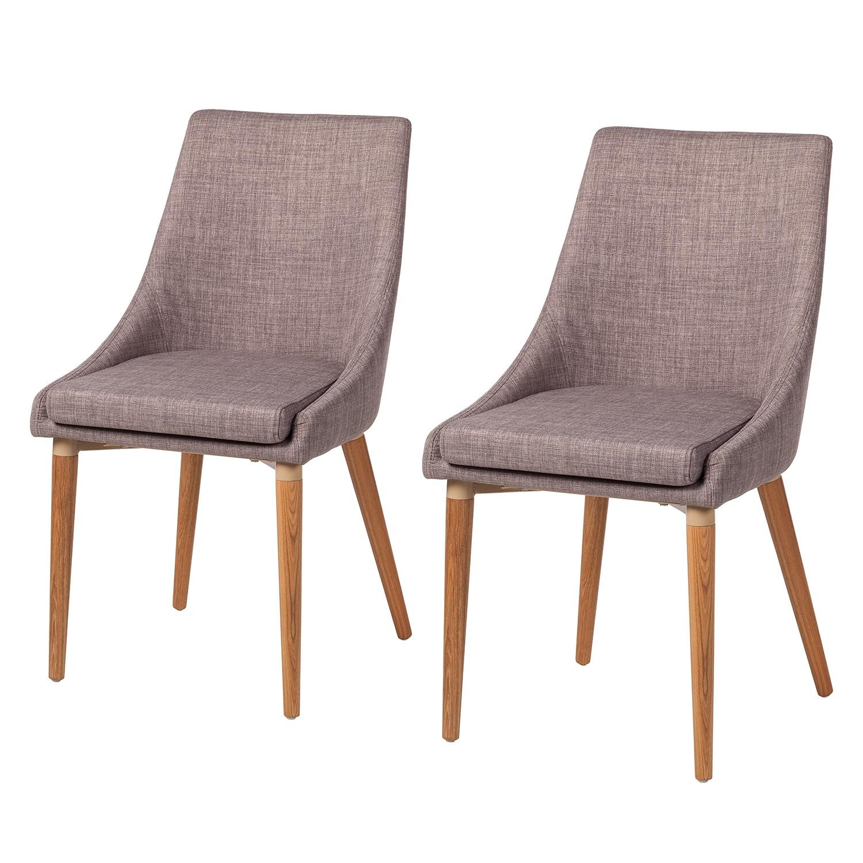 Gestoffeerde stoelen Brea (2 delige set) geweven stof essenhout Lichtgrijs, Morteens