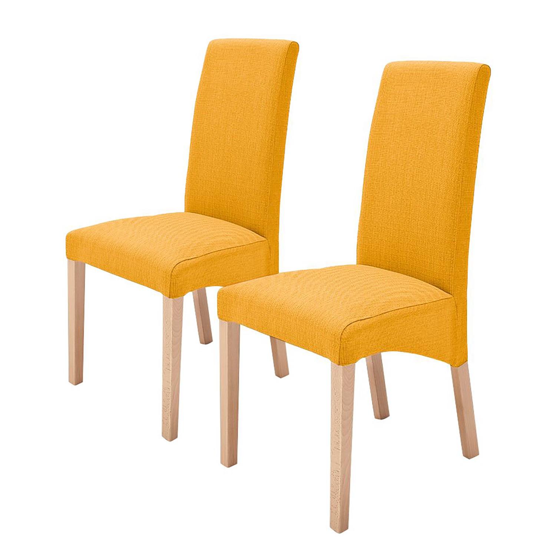 home24 Polsterstuhl Foxa (2er-Set) | Küche und Esszimmer > Stühle und Hocker > Polsterstühle | Gelb | Textil | Ars Natura