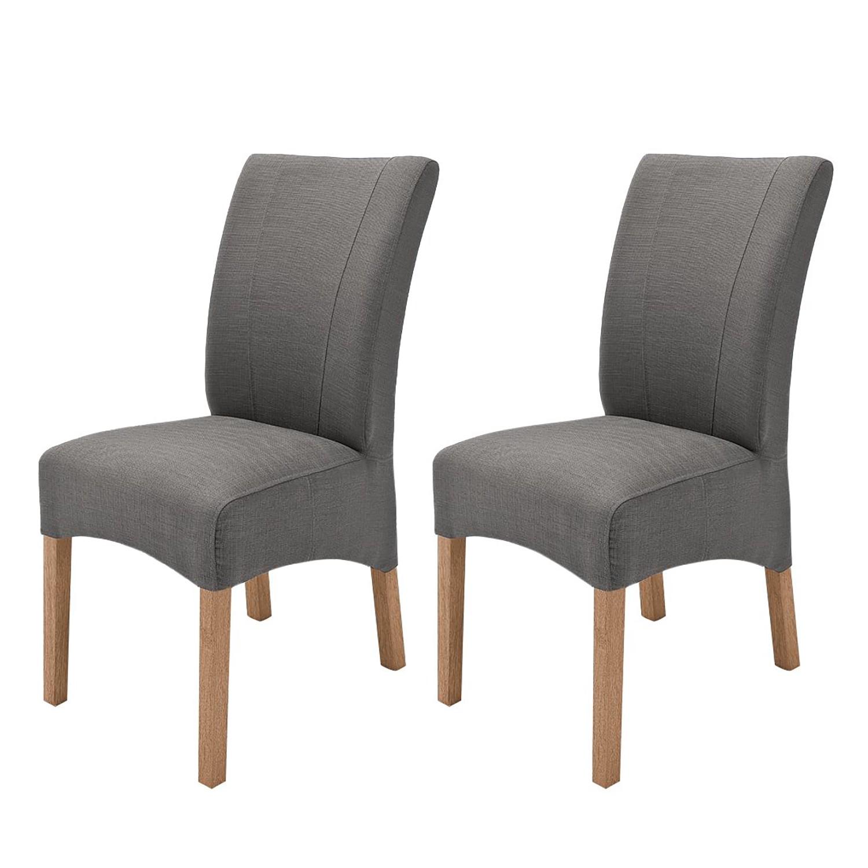 Gestoffeerde stoelen Sarpsborg (2 delige set) geweven stof Grijsbruin eikenhout, roomscape