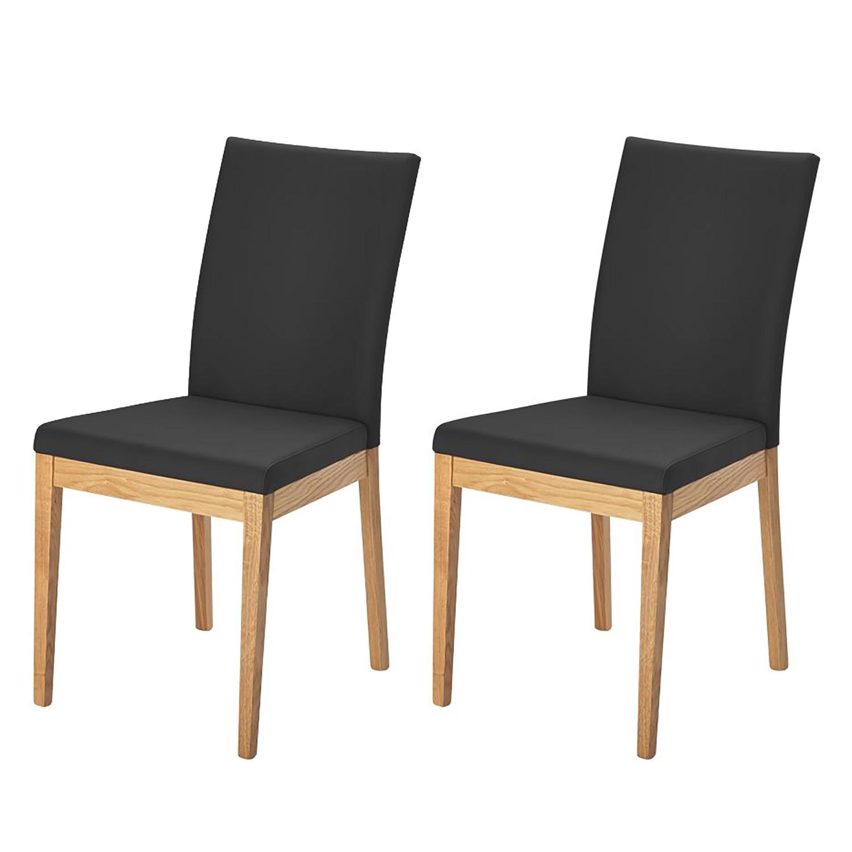 Gestoffeerde stoel Vallenar II echt leer Zwart, Ars Natura