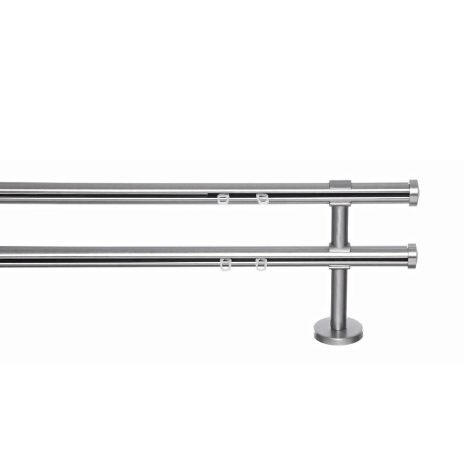 home24 Gardinenstange Dario (2-lfg) | Heimtextilien > Gardinen und Vorhänge | Silber | Metall | indeko