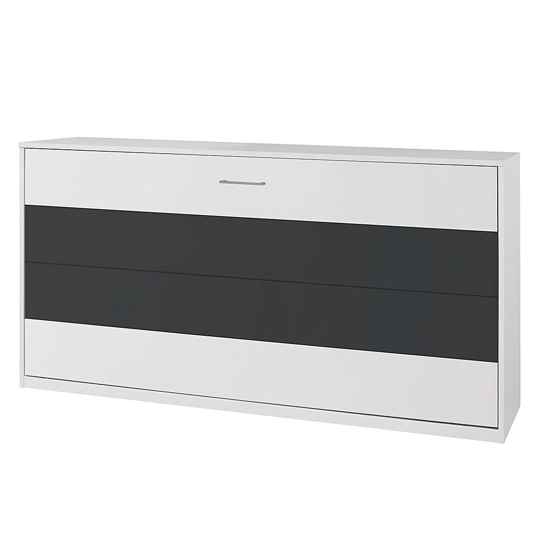 Lit rabattable Albero Extra - Blanc alpin / Gris métallisé, Rauch