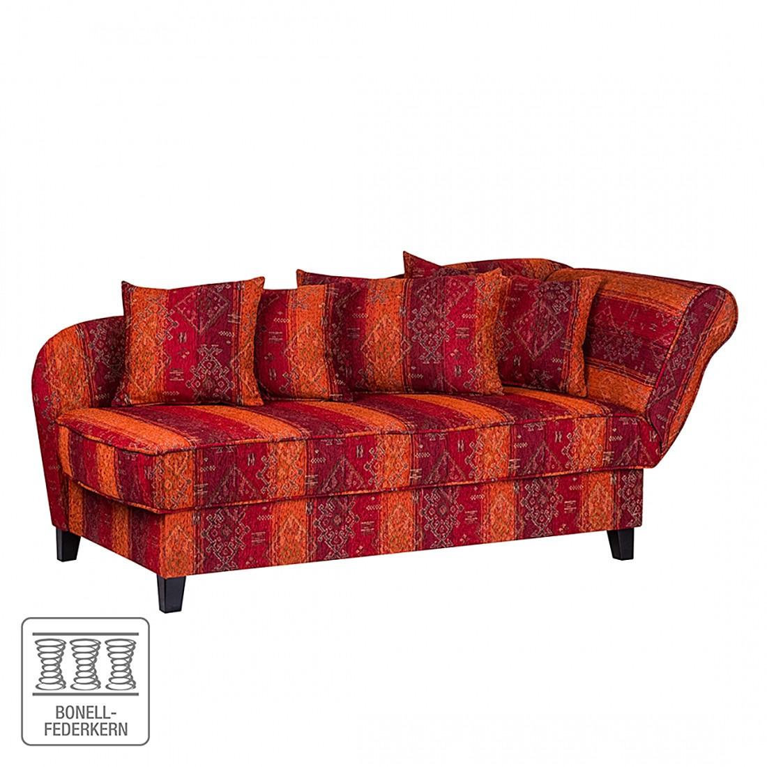 goedkoop Chaise longue Adelaide rode geweven stof armleuningen vooraanzicht rechts Maison Belfort