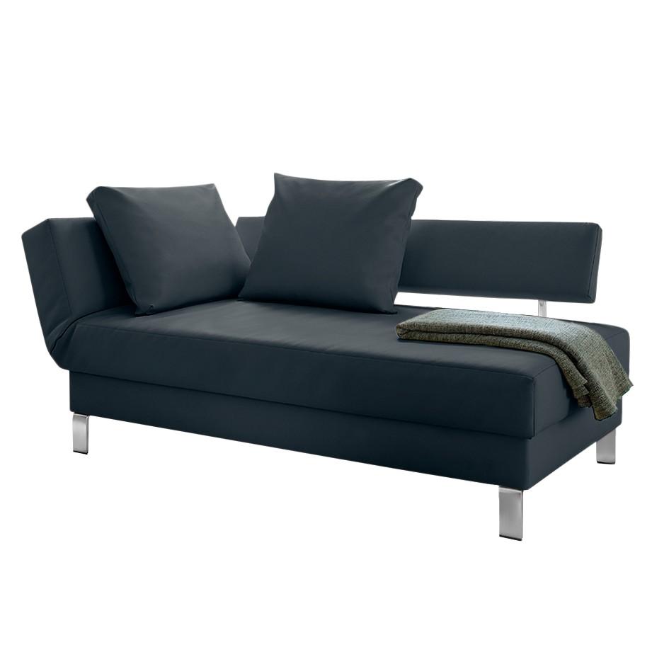 goedkoop Longchair Athmos met slaapfunctie kunstleer Armleuning vooraanzicht links Donkerblauw loftscape