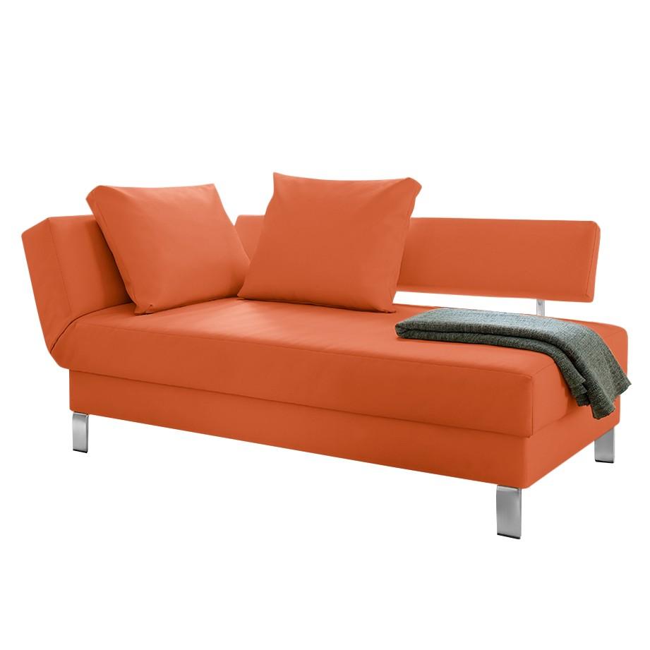 goedkoop Longchair Athmos met slaapfunctie kunstleer Armleuning vooraanzicht links Oranje loftscape
