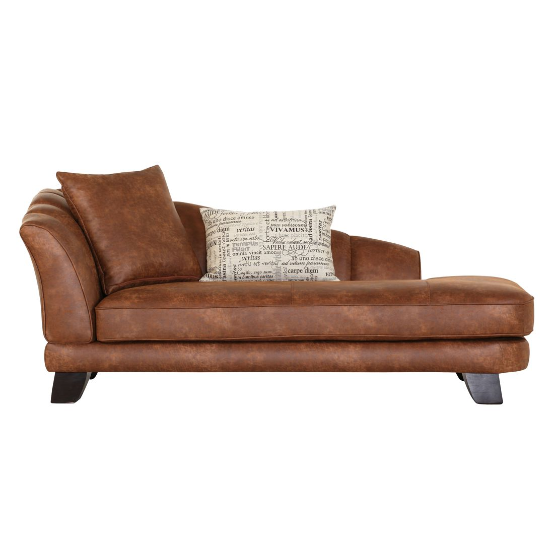 goedkoop Chaise longue Maggie cappucciokleurige leren look armleuning vooraanzicht links Red Living