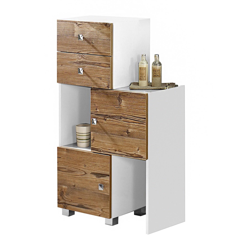 Image of Mobiletto Montreal - Bianco lucido/Effetto legno di abete argentato, Schildmeyer