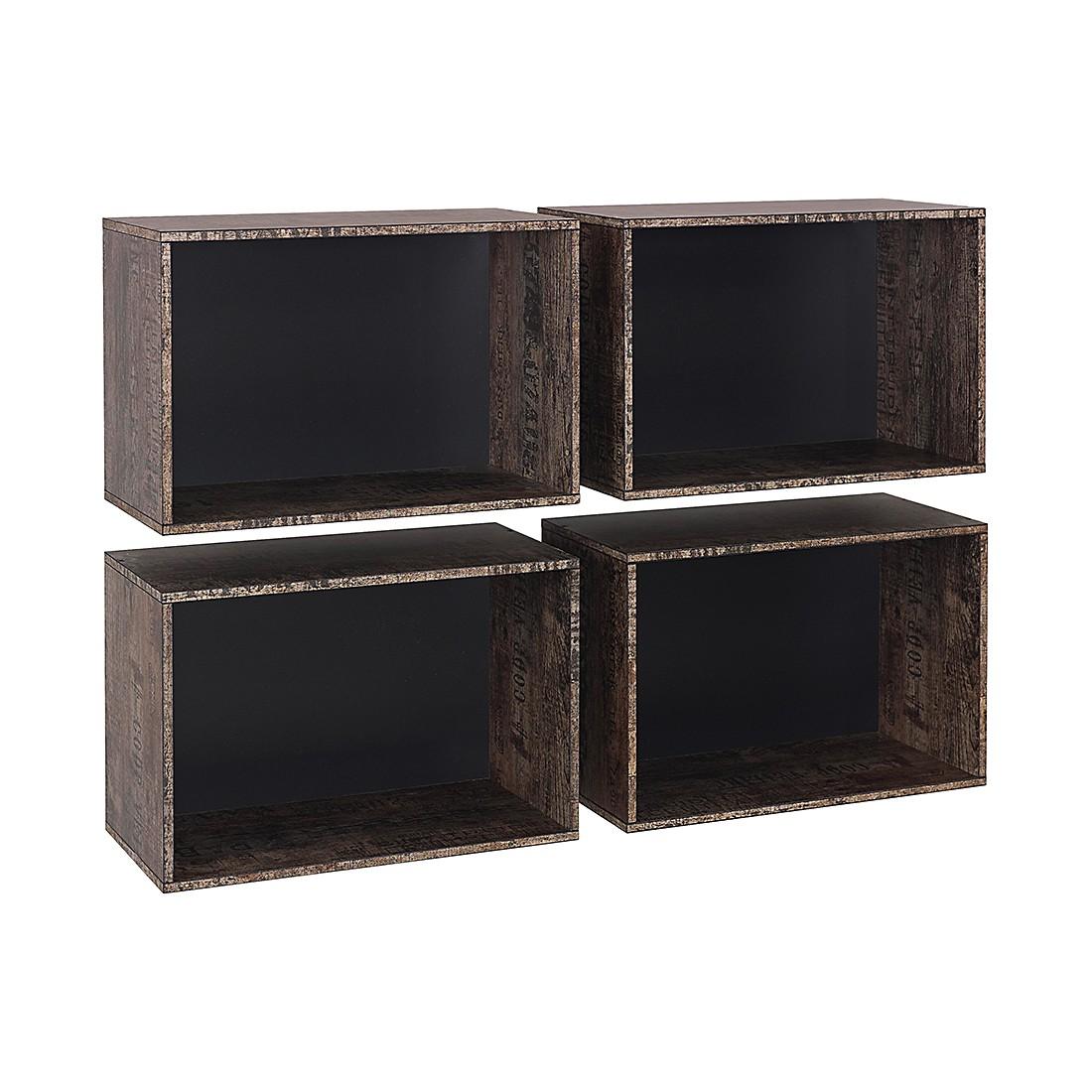 Kisten voor open kast Sumatra (4 delige set) Zwart vintage bruin, Rauch Select