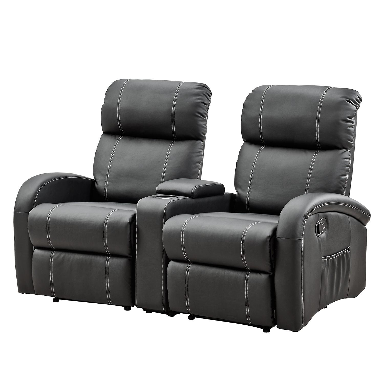 Canapé de relaxation Korgen (2 places) - Imitation cuir - Noir, Nuovoform