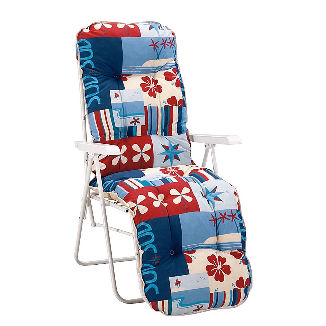 Relaxliege Sylt - Stahlrohr/Textil/Kunststoff - Weiß/Blau-Rot, Best Freizeitmöbel