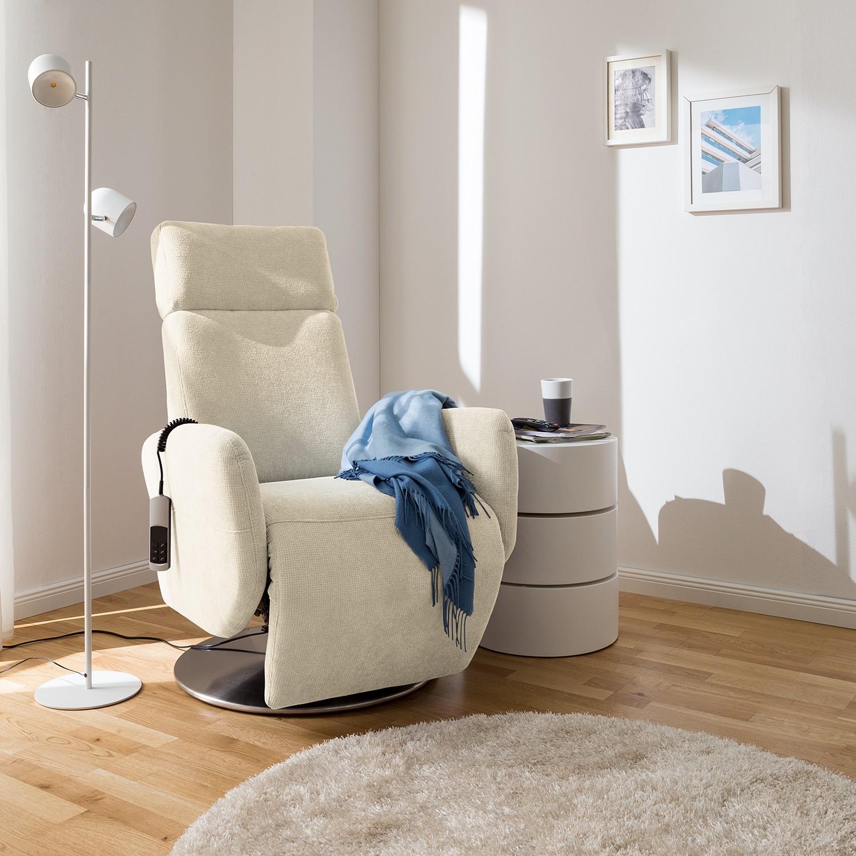 home24 Fredriks Relaxsessel Biar Hellbeige Strukturstoff 71x110x82 cm (BxHxT)