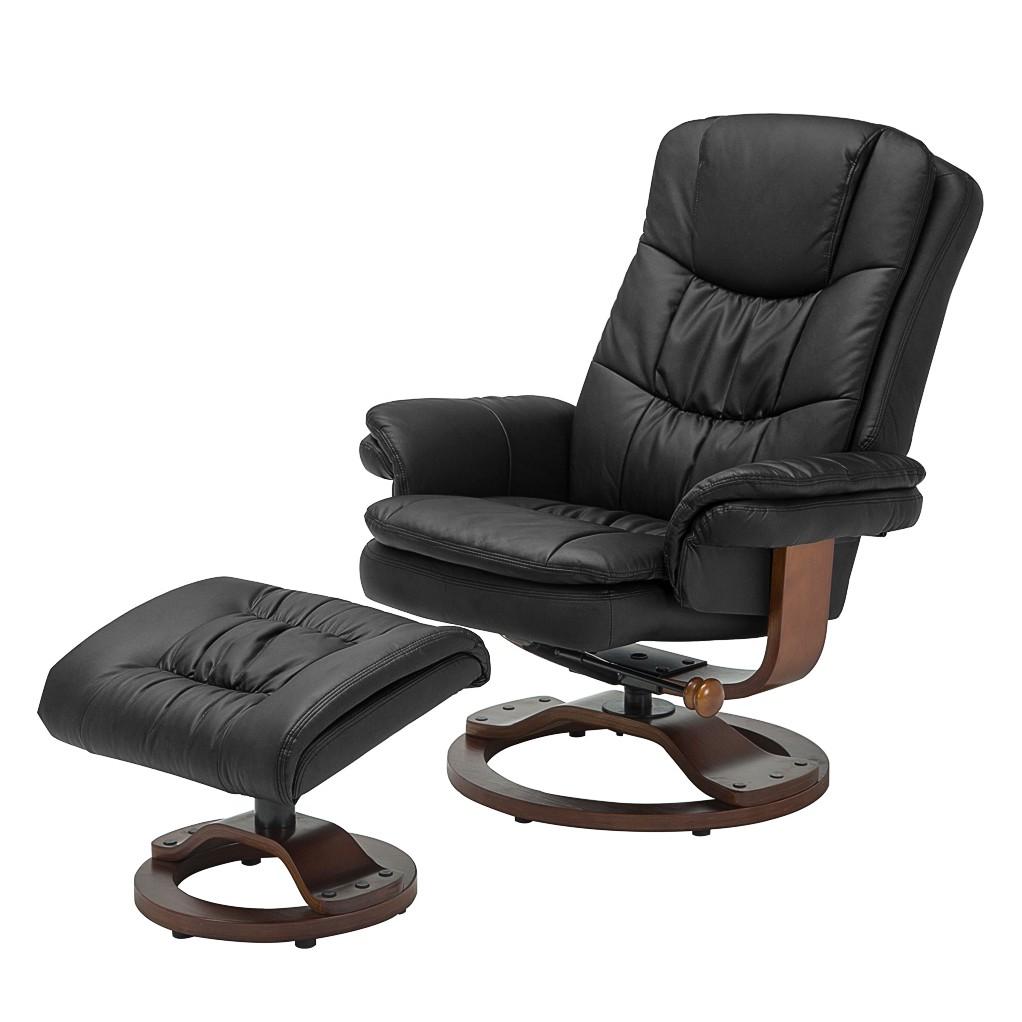Poltrona reclinabile con poggiapiedi Keltern - similpelle - Nero, Nuovoform