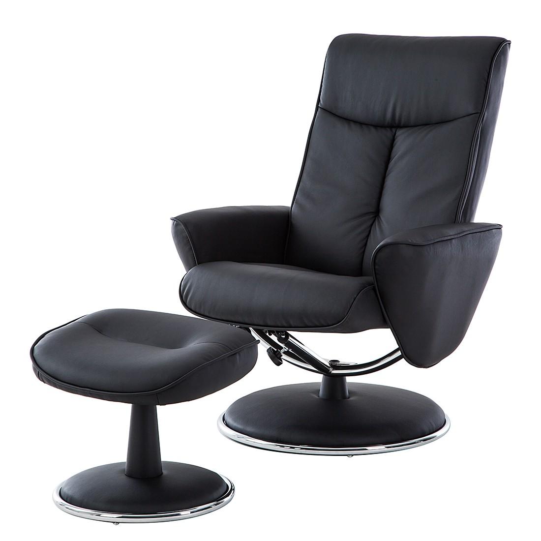 goedkoop Relaxfauteuil Kenzo met hocker zwart kunstleer mooved