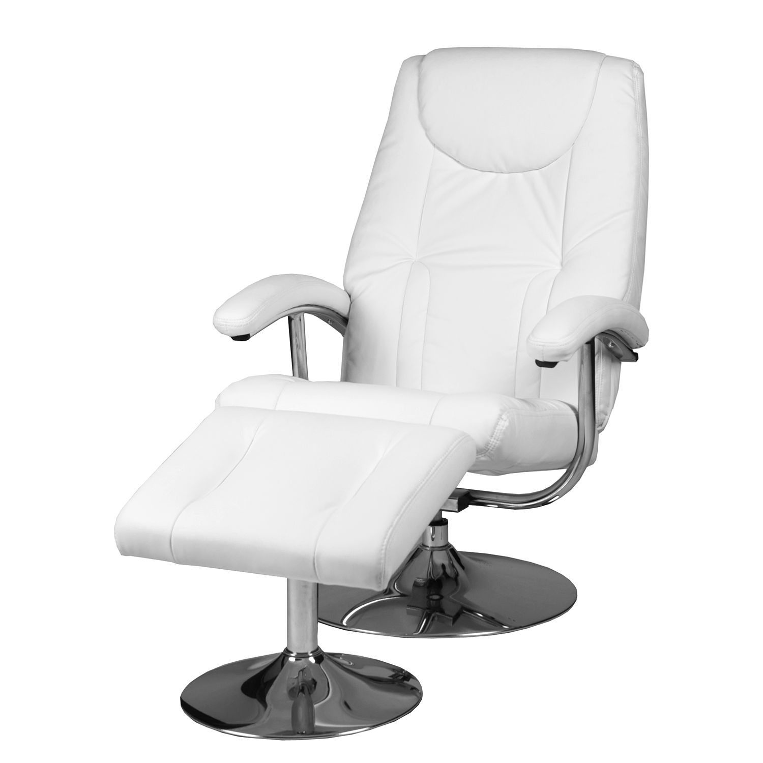 goedkoop Relaxfauteuil Korfu met hocker kunstleer Wit Duo Collection