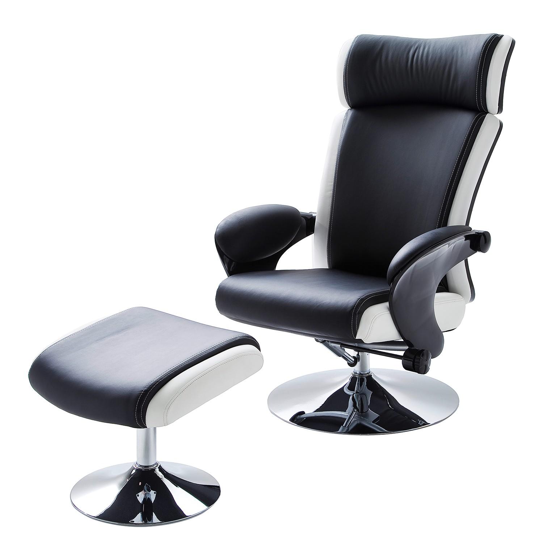 goedkoop Relaxfauteuil Orford kunstleer Zwart wit Nuovoform